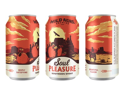 Soul Pleasure desert cactus sun fort worth austin illustration package can stout texas craft beer wild acre