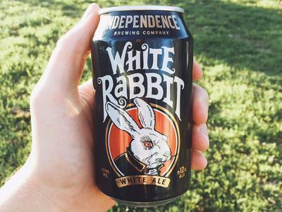 White Rabbit Redux beverage craft gold rabbit can package design beer independence white rabbit