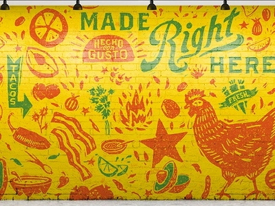 LTC Wall restaurant illustration typography type design wall art taco chicken mexican woodcut mural