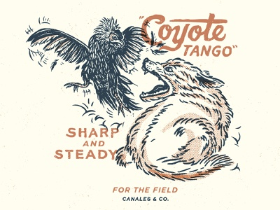 Coyote Tango sharp and steady chicken coyote design texas illustration
