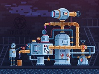 Steampunk industrial machine with pipes and robot