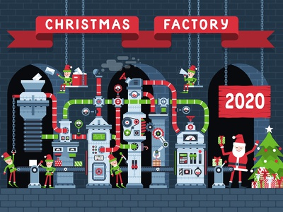 Christmas factory conveyor with working elves magic plant workshop production industry working fantasy present christmas tree gift box gift new year manufacture machine belt conveyor santa elf factory christmas