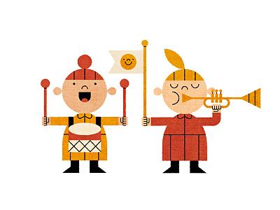 Music Kids character drummer trumpet texture children illustration