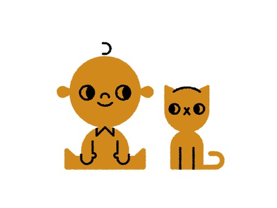 Cat & Baby simple cute texture family cat baby