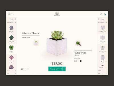 Conjunction succulents store (combination page) icon design animation interaction ui design ux design clean minimalistic motion plants concrete geometric succulents