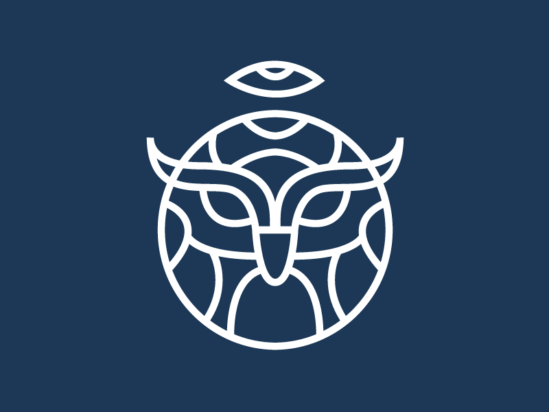 Wake Up minimal simple blue illustrator line nocturnal bird owl