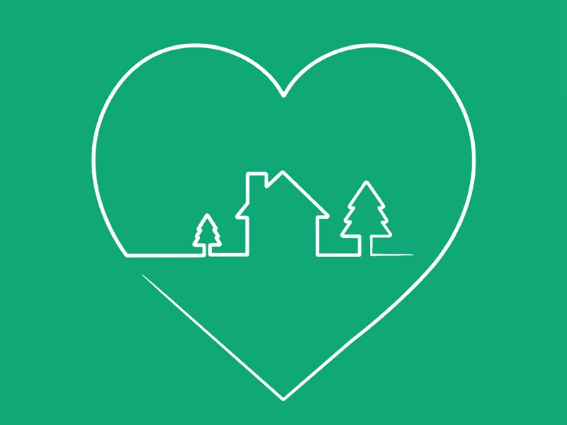 Where the heart is tree house kids cute one line simple illustrator line