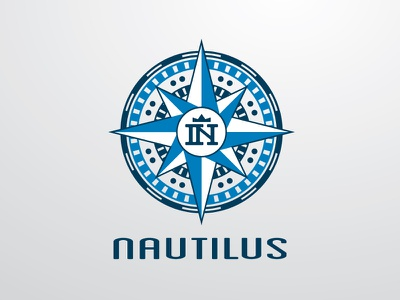 Nautilus Logo compass nautilus logo direction ship construction piling build building