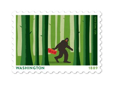 Washington Stamp forrest boom box vector philately bigfoot stamp design illustration