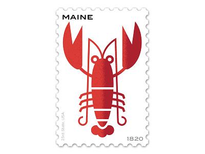 Maine Stamp philately vector typogrpahy m lobster stamp design illustration