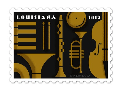 Louisiana Stamp philately tuba piano sticks cymbal bass clarinet trumpet deco stamp illustration design