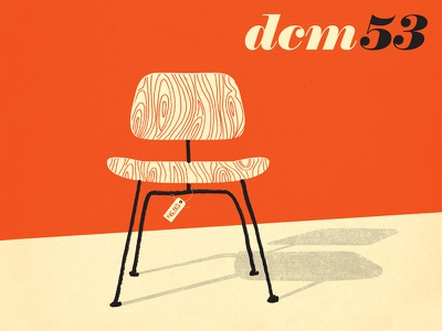 Eames DCM 53 1953 metal salvation army thrift store modern dining herman miller chair illustration eames dcm