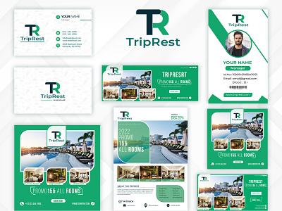 'TripRest'- A luxurious five star hotel. illustration full brand design logo graphic design complete branding brand logo branding design branding brand