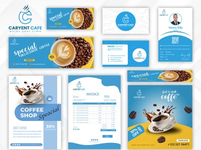 """CARYENT CAFE""- A Modern coffe shop. ui logo illustration full brand design complete branding brand logo branding design branding brand"