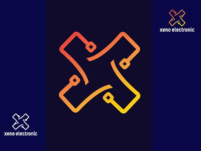 'XENO ELECTRONIC'- Electronic Branding Company. ui design illustration full brand complete branding branding design brand logo v graphic design branding ele minimal logo logo design logo brand