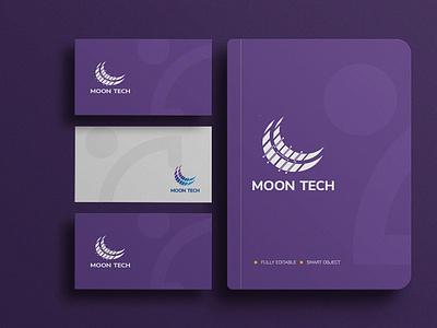 MOON TECH- BRANDING animation motion graphics 3d graphic design logo ui illustration full brand design complete branding brand logo branding design branding brand