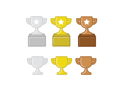 Trophies medal silver bronze gold award trophy statistic stats stat illustration iconography icon
