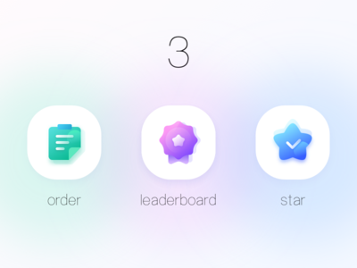 sweet icons with various gradient colours