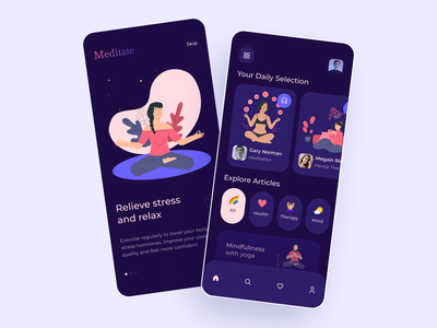 Mental Health App mindfulness mental health health app meditation app mobile app design mobile ui uxdesign ux ui figmadesign
