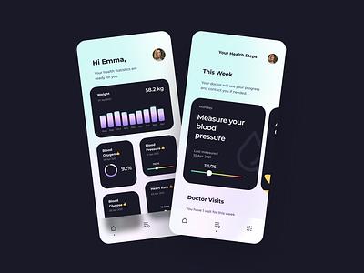 Health App glass effect uxdesign uidesign uxui uiux figmadesign figma simple minimalistic ios mobile app health app