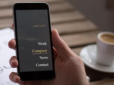Anchor overlay mobile menu website logo branding
