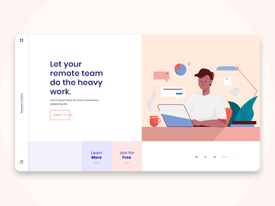Landing page exploration landing page modern remote working vector illustration ui ux ux ui web web design team remote work remote