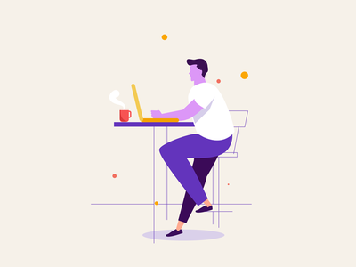 Working on Laptop vector remote work working space illustration trendy modern laptp working