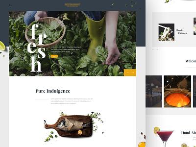 Food and Drink Website Design landing page restaurant drinkd food food and drink typography web design modern mobile illustration web ui-ux