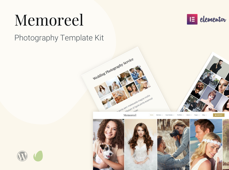 Memoreel - Elementor Pro Photography Template Kit themeforest envato template design elementor pro elementor website design wordpress web design