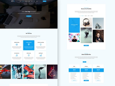 Opto one page one page site one page design web design website design business agency agency website