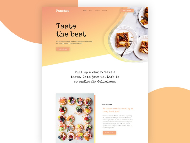 Panshee restaurant cafe food website design business web design