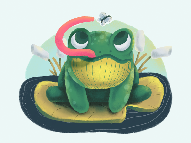 Snackin' Frog procreate sketch frog lilly pad lilly pad green wildlife kids illustration cute animal illustration animal fly frog