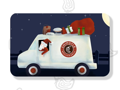 Chipotle Gift Cards — Santa Truck process procreate after effects illustration santaclaus santa holiday christmas childrens illustration animation gif gift cards gift card chipotle mexican grill chipotle