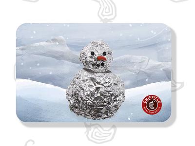Chipotle Gift Card - Foilman burrito snow man winter animation process chipotle gift card christmas foil snow snowman