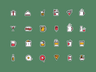 Cafe' Stickers cafe web badge graphic food sticker colour set icon