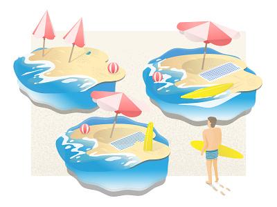 Vacation vacation vector wave surf beach illustration illustrator