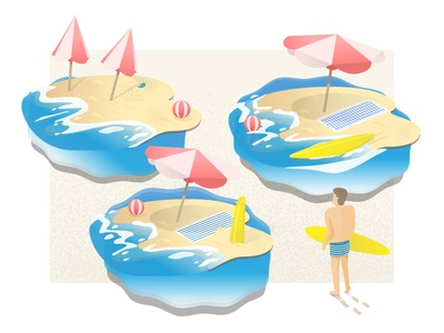 Vacation vacation vector wave surf beach illustration illustrator