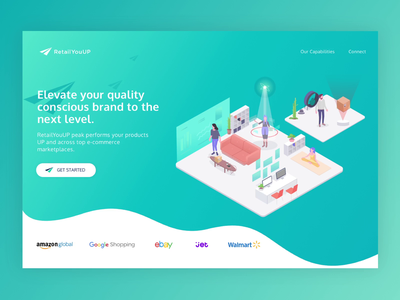 RetailYouUP brand wave retail shop amazon composition people ui website web landing isometry banner homepage mobile first responsive ux design illuatration animation e-commerce