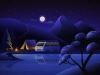 Lake Camping camping lake forests forest nightcamp nightlife night camp vanlife van islands island game art game vector illustration design