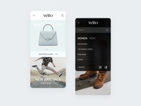 Vetto - Italian Leather - Mobile Website mobile app leather shopping app shopping website design website mobile ui mobile branding design ux ui