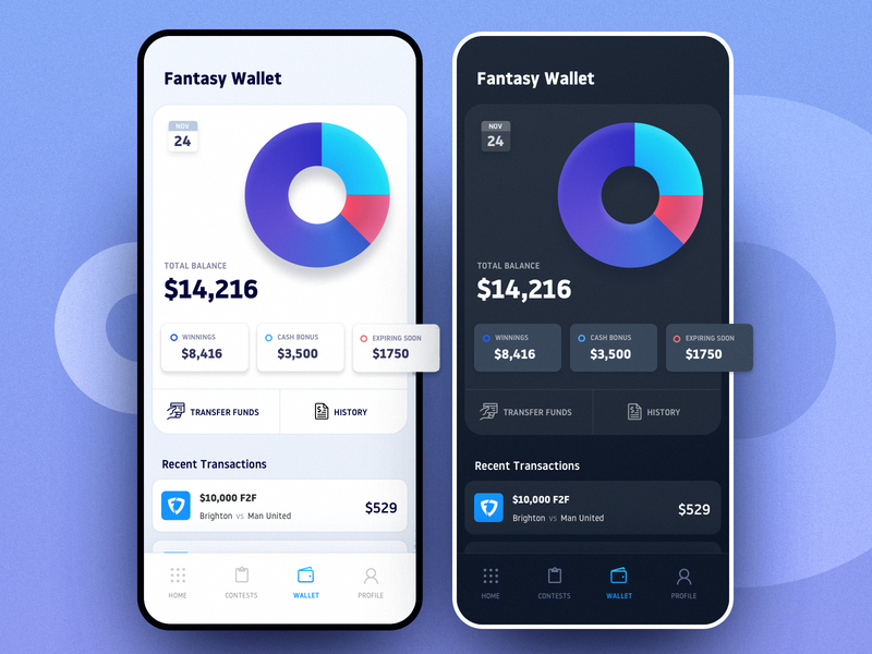 Fantasy Wallet - Dark & Light Themes funds tranfer wallet fantasy branding app ux saurabhuxd