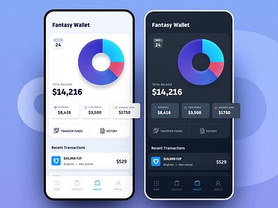 Fantasy Wallet - Dark & Light Themes funds tranfer wallet fantasy branding app ux saurabhuxd