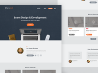 Landing page for e-learning site