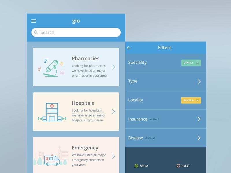 Medical Search App medical health app pharmacies emergency filters ios saurabhj india