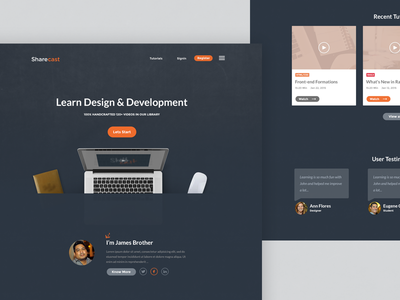 Landing page for e-learning site V-02