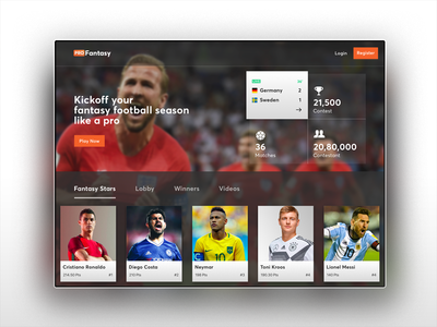 Fantasy Football india players worldcup soccer football fantasy ui ux saurabhuxd