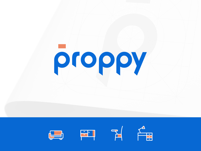 Proppy - On demand commercial rentals rental prop proppy logotype typography india logo branding saurabhuxd