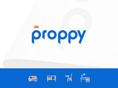 Proppy - On demand commercial rentals rental prop proppy logotype typography india logo branding saurabhuxd