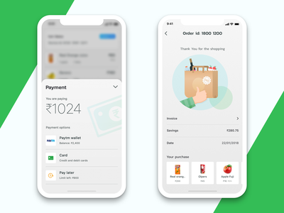 Payment Success money grocery card illustration success cart payment ux india saurabhuxd