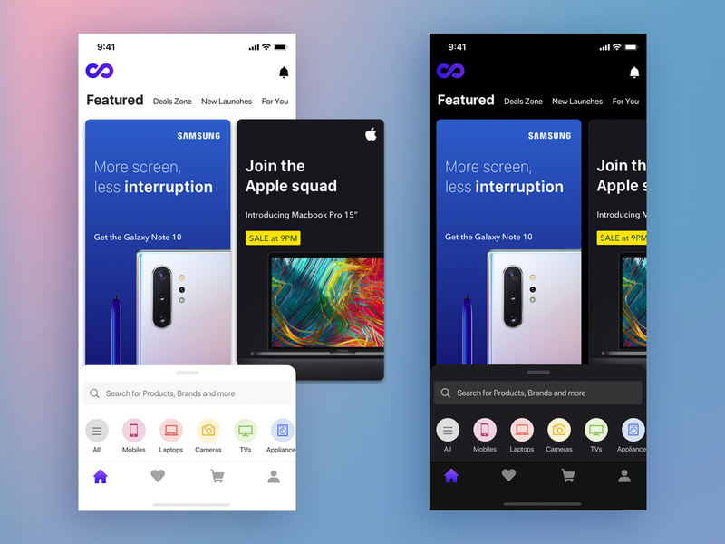 Electronics store app galaxy note10 iphonex icons sheet app ui saurabhuxd india
